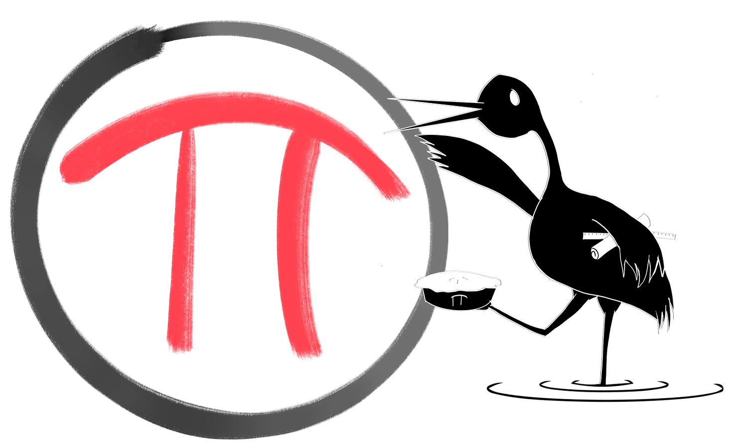 A crane drawn in black ink with a ruler and rolled up piece of paper tucked under one wing, and holding up a pie with one foot. He is waving with his other wing. Behind him is a Pi symbol in a circle.